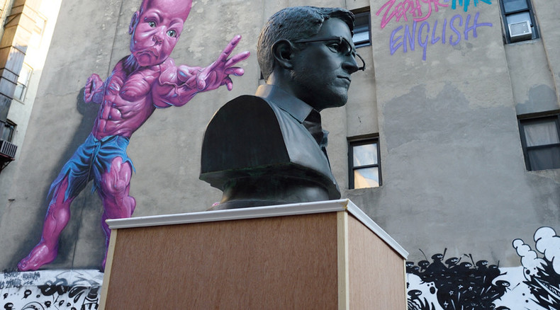 'Busted' Snowden bust back in New York, this time as street art exhibit