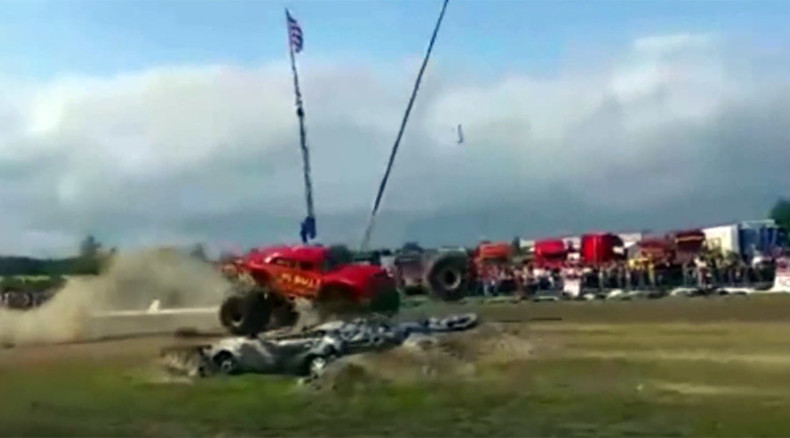 Monster truck tire bounces into crowd, injures 6 at Finland stunt show (VIDEO)