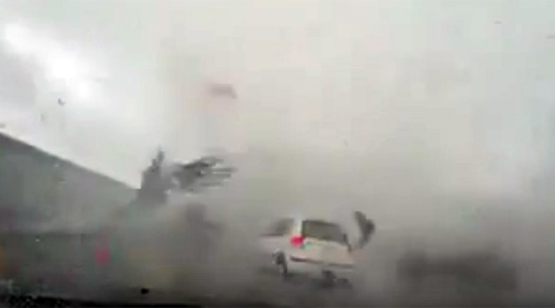 Gone with the wind: Car gets blown away by typhoon in Taiwan (VIDEO)