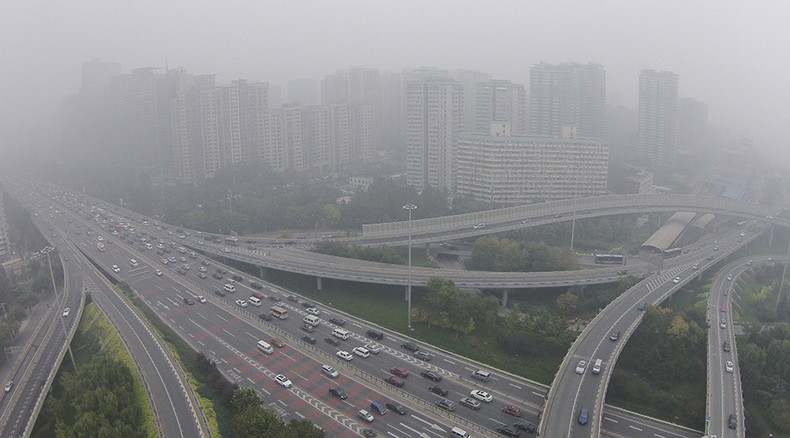 City buildings literally ooze smog from the walls