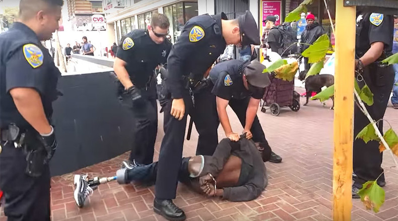 '14 San Francisco cops' gang up on homeless man 'armed' with crutches (VIDEO)