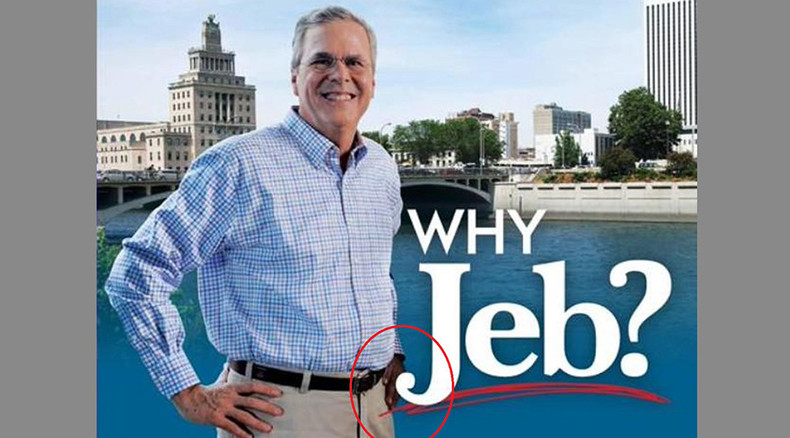 Laughing stock (photo): Web mocks Jeb Bush's 'black hand' in campaign leaflet fail