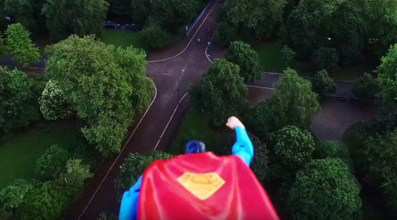 Toy-Superman attached to drone patrols skies over London (VIDEO)