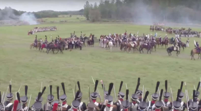 Napoleonic Battle of Borodino re-enactment in Moscow captured by drone (VIDEO)