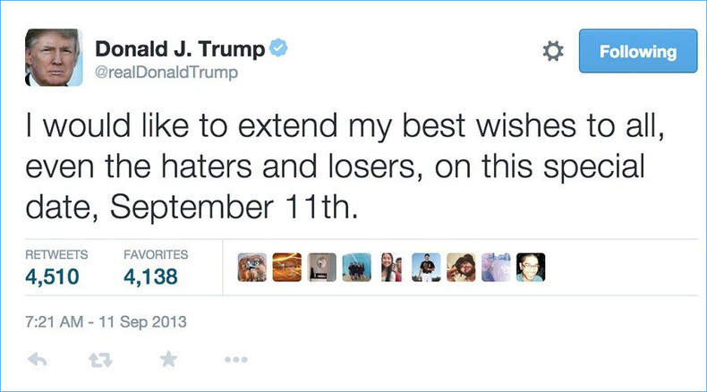 Trump deletes 'classless, pathetic' tweet from 2013 calling out haters and losers on 9/11
