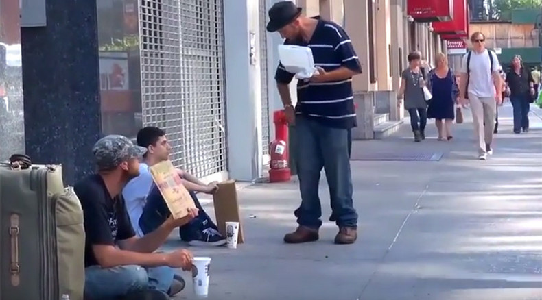 Shocking video shows NY man throwing food on homeless vet