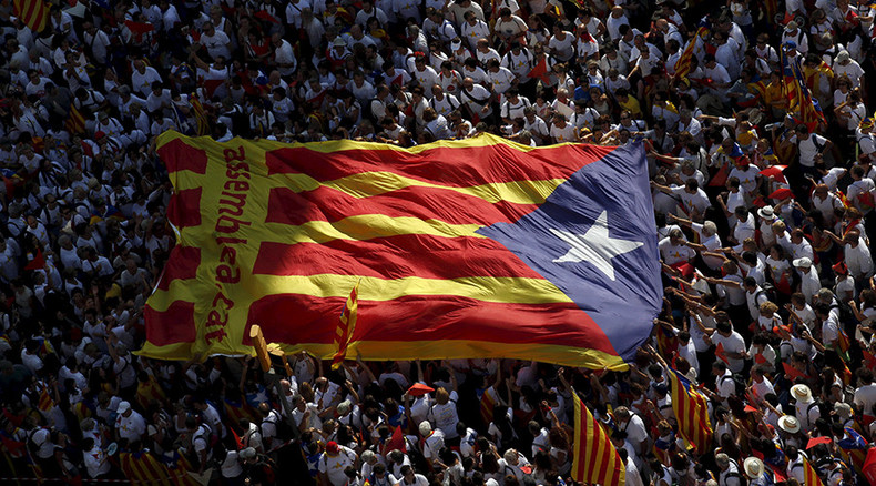 Thousands of pro-independence protesters rally in Barcelona ahead of Catalan elections