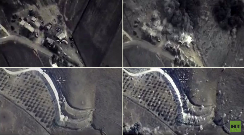 Combat cam footage shows Russian planes hitting ISIS targets