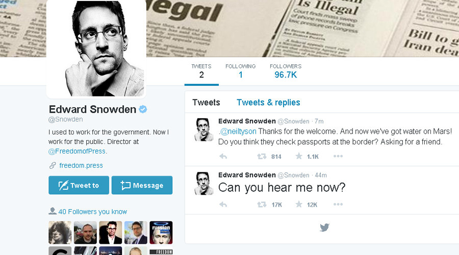 'Can you hear me now?' Edward Snowden joins Twitter, follows only NSA