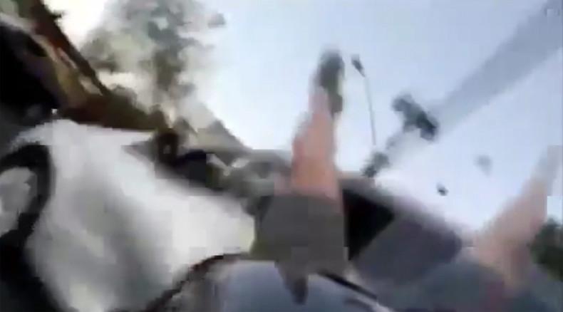 Speeding motorcyclist rams into crossing car & flies over it (VIDEO)