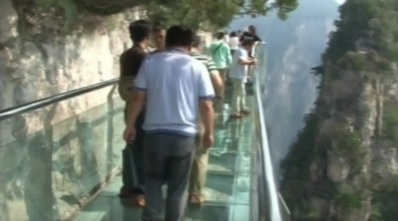 'It really cracked!' Tourists flee after glass skywalk shatters underfoot in China