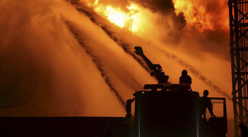 Fire at warehouse in Tianjin, China, alcohol spill suspected (VIDEO)