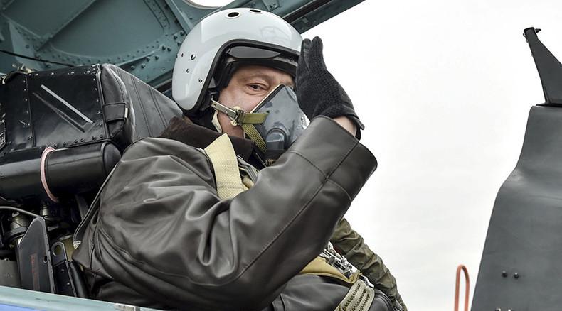 Closer to NATO standard: Ukraine's Poroshenko flies on modernized Su-27 fighter jet (VIDEO)