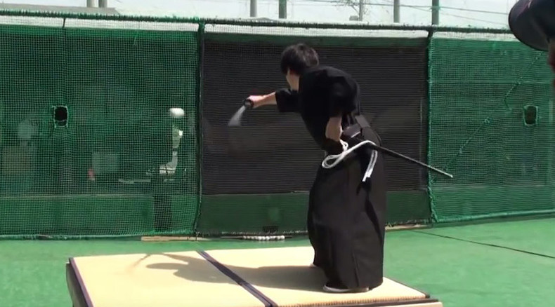 Forget lightsabers: Samurai slices baseball traveling at 100 mph in half (VIDEO)