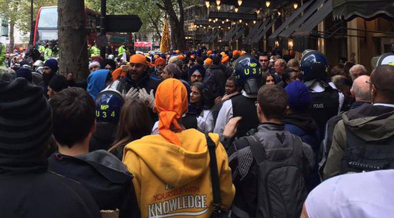 Police officer injured in #SikhLivesMatter protest outside Indian Embassy
