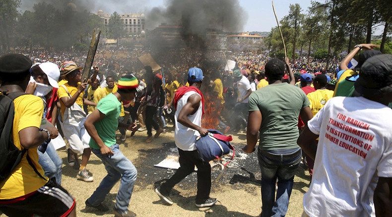 S. African police fire tear gas, water cannon at thousands of students protesting fee hikes