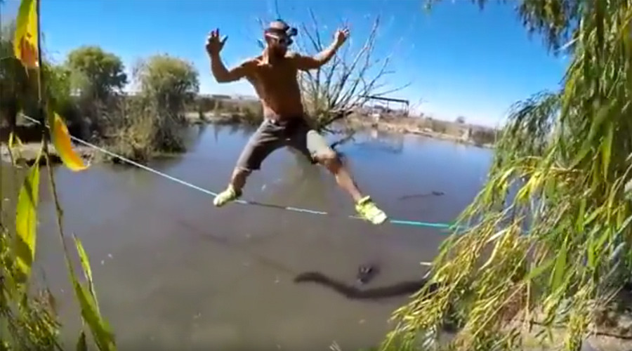 Thrill-seeker balances over pool of hungry alligators as they watch his every move (VIDEO)