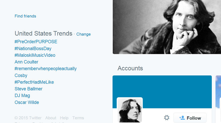 Wisdom in short sentences: Oscar Wilde gets Twitter traction on his B-Day