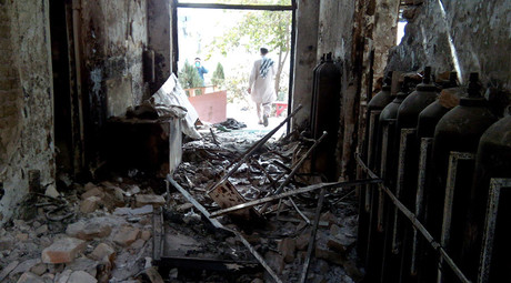 The damaged interior of the hospital in which the Medecins Sans Frontieres (MSF) medical charity operated is seen on October 13, 2015 following an air strike in the northern city of Kunduz. © STR