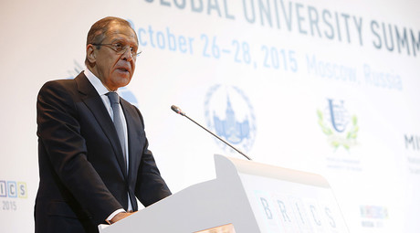 Russian Foreign Minister Sergey Lavrov delivers a speech during the BRICS Global University Summit at the Moscow State Institute of International Relations, also known as MGIMO, in Moscow, Russia October 27, 2015 © Sergey Karpukhin