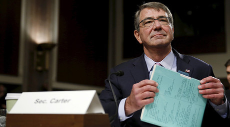United States Secretary of Defense Ash Carter prepares to testify at a Senate Armed Forces Committee hearing on