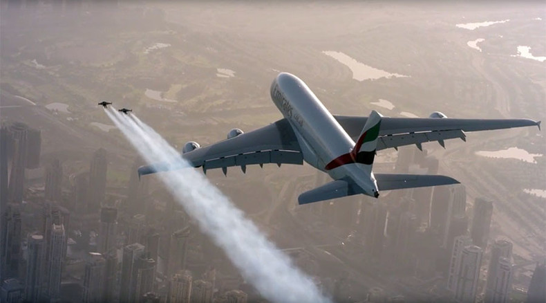 Afraid of heights? No way! Jetman flies alongside Emirates A380 superjumbo (VIDEO)