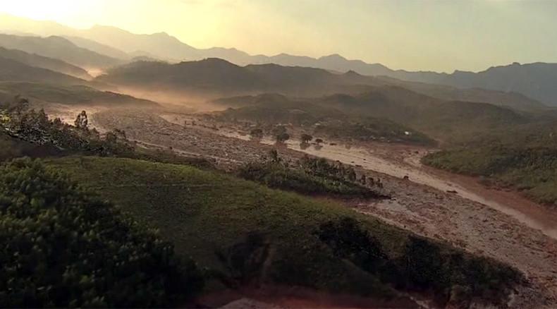 Buried under sea of mud: Aerial footage shows Brazilian town devastated in dam break (VIDEO)