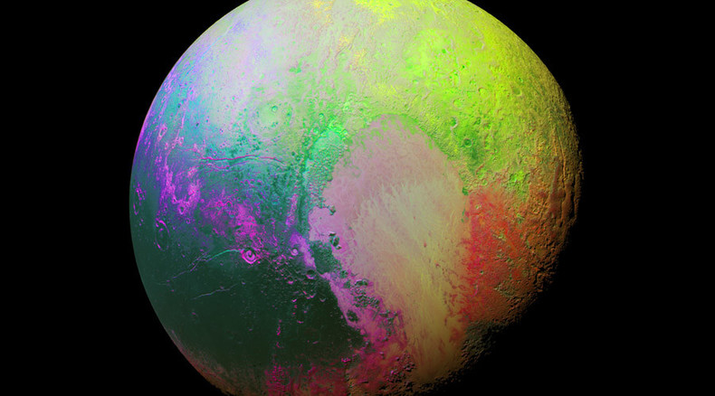 'Psychedelic Pluto': NASA releases stunning rainbow-colored image of dwarf planet