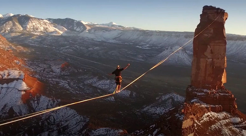 Once upon a high-wire in the West: Slackliner sets 500m 'walk of death' record above Utah desert