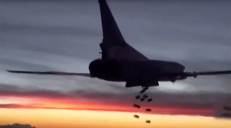 Russian strategic bombers hit ISIS positions with cruise missiles, smart bombs (VIDEO)