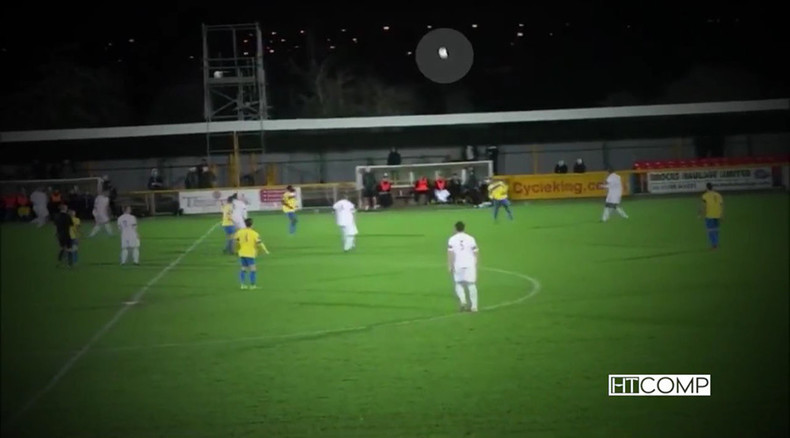 Amazing own-goal from halfway line caused by 70mph winds (VIDEO)