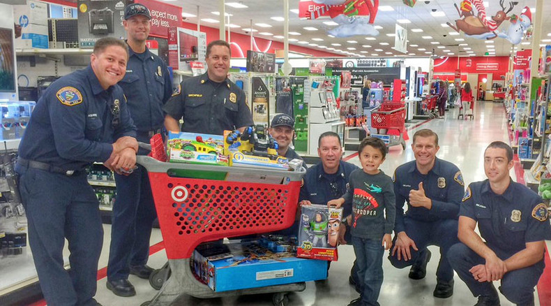 Firefighters take 5yo hero who saved his grandma on toy shopping spree