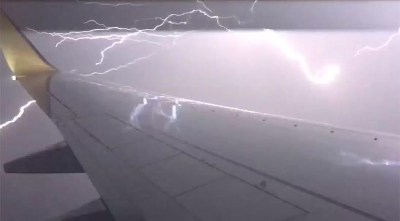 Scary moment: Lightning strikes meters from plane in Australia, filmed by passenger (VIDEO)