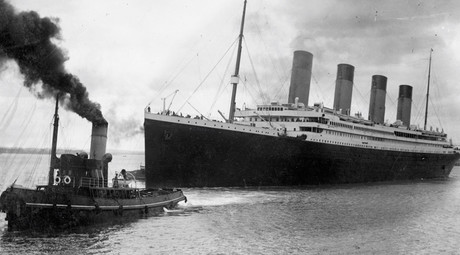 Titanic leaving Southampton on her ill-fated maiden voyage on April 10, 1912. ©