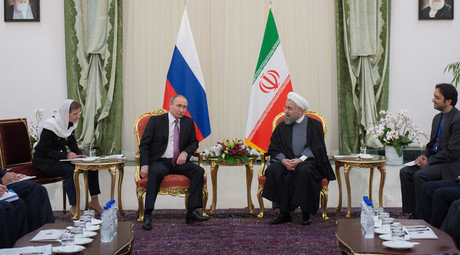 Russian President Vladimir Putin and President of Iran Hassan Rouhani during the talks in Tehran, Iran, November 23, 2015. © Sergey Guneev