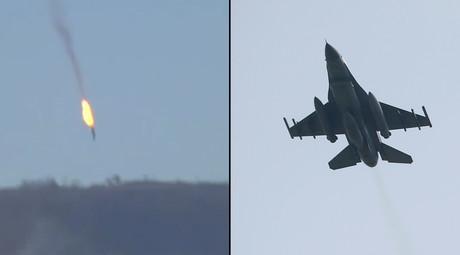 Russian Su-24 jet (© RT) and a Turkish F-16 fighter jet (R) (© Murad Sezer / Reuters)