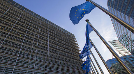 European flags fly at the entrance of the European Commission headquarters in Brussels, Belgium © Yves Herman