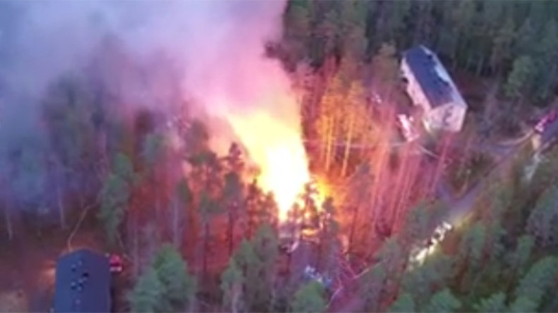 Drone captures refugee center in Finland in flames, arson suspected (VIDEO)