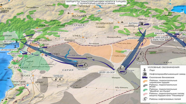 Map, images from Russian military show main routes of ISIS oil smuggling to Turkey