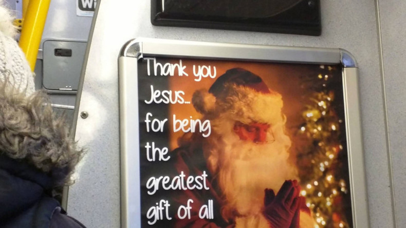 Putting Christ back into Christmas: Santa prays to Jesus in bus ad