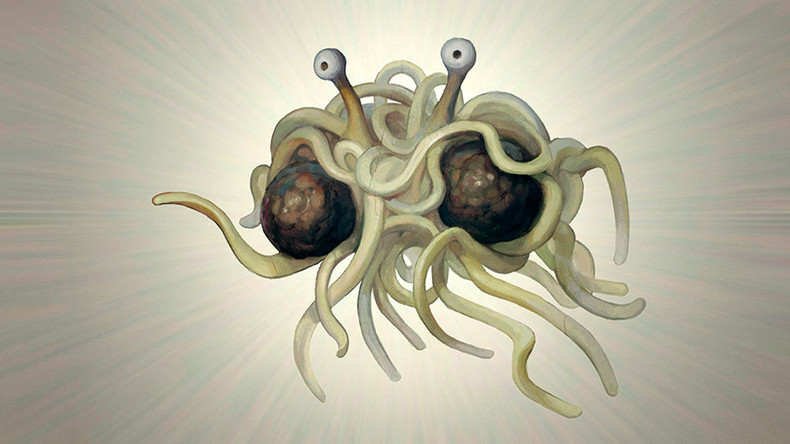 Jesus who? Beer can pole & maybe 'Flying Spaghetti Monster' at Florida Capitol display