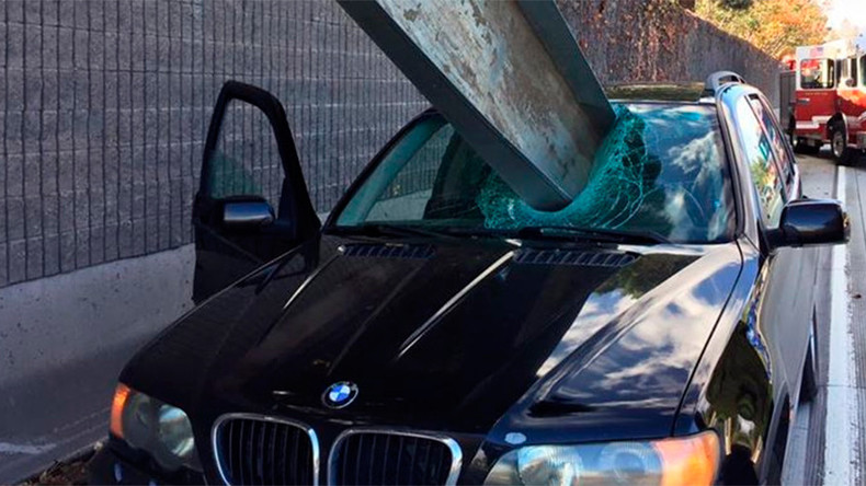 Car-ful Now: Driver escapes steel beam through windscreen