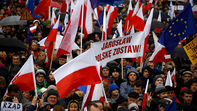 'Democratorship & creeping coup d'etat!' Anti-government protesters rally in Poland
