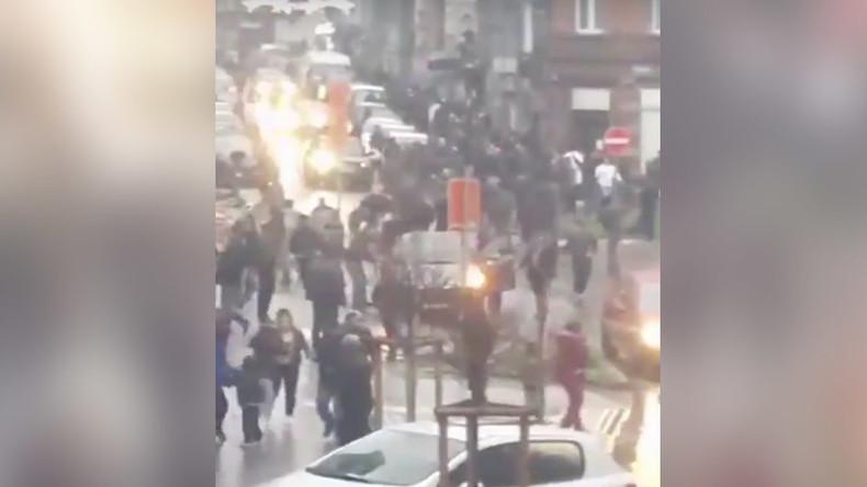 Blast destroys front of building in Belgian town