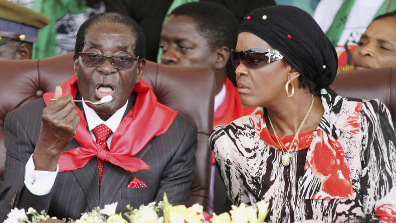 91 year-old Mugabe asks wife's permission to drink vodka