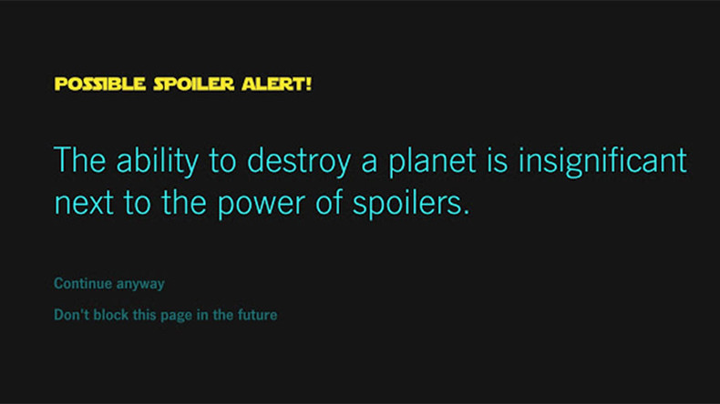 Google use the 'Force' to block 'Star Wars' spoilers