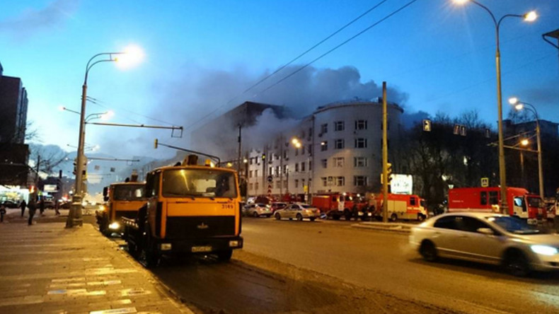 Fire rages at police officers' club in central Moscow (VIDEO)