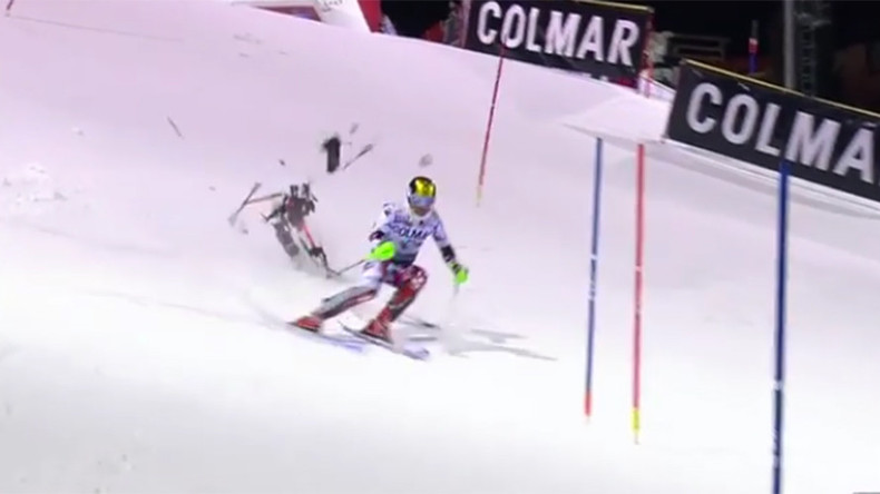 Drone almost crashes into Austrian champion skier Hirscher during race