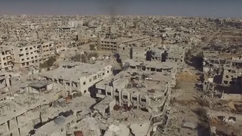 Apocalyptic scenes of Damascus suburb obliterated by violent clashes (RT EXCLUSIVE DRONE FOOTAGE)