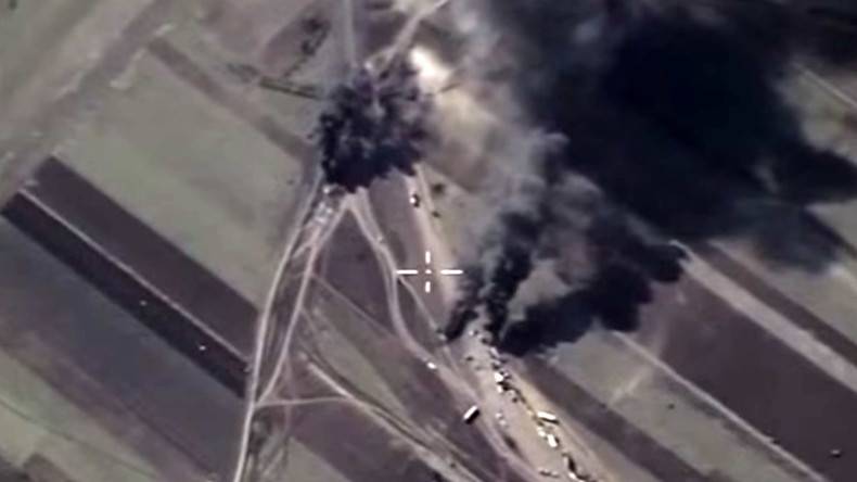 Russian jets bomb ISIS oil tankers in Syria (MoD VIDEO)